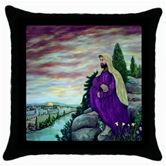 Jesus Overlooking Jerusalem   Ave Hurley   Artrave   Black Throw Pillow Case