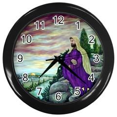 Jesus Overlooking Jerusalem - Ave Hurley - ArtRave - Wall Clock (Black)