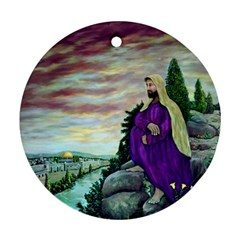 Jesus Overlooking Jerusalem - Ave Hurley - ArtRave - Round Ornament (Two Sides)
