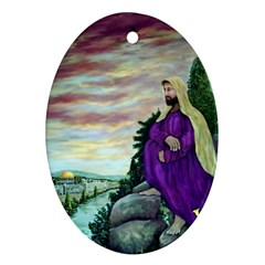 Jesus Overlooking Jerusalem - Ave Hurley - ArtRave - Oval Ornament (Two Sides)