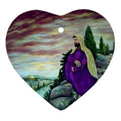 Jesus Overlooking Jerusalem   Ave Hurley   Artrave   Heart Ornament (two Sides)