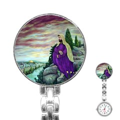 Jesus Overlooking Jerusalem   Ave Hurley   Artrave   Stainless Steel Nurses Watch