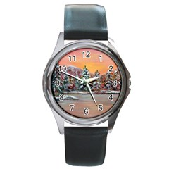 Jane s Winter Sunset   by Ave Hurley of ArtRevu ~ Round Metal Watch