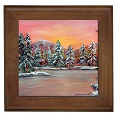 Jane s Winter Sunset   by Ave Hurley of ArtRevu ~ Framed Tile