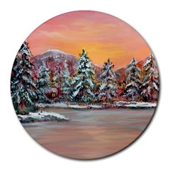 Jane s Winter Sunset   by Ave Hurley of ArtRevu ~ Round Mousepad