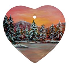 Jane s Winter Sunset   by Ave Hurley of ArtRevu ~ Ornament (Heart)