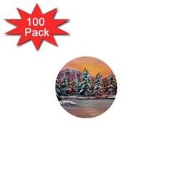Jane s Winter Sunset   by Ave Hurley of ArtRevu ~ 1  Mini Button (100 pack)