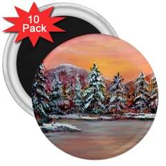 Jane s Winter Sunset   by Ave Hurley of ArtRevu ~ 3  Magnet (10 pack)