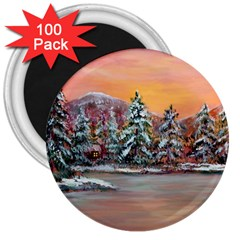 Jane s Winter Sunset   by Ave Hurley of ArtRevu ~ 3  Magnet (100 pack)