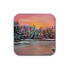 Jane s Winter Sunset   by Ave Hurley of ArtRevu ~ Rubber Square Coaster (4 pack)