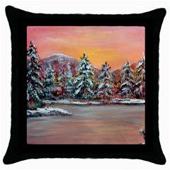 Jane s Winter Sunset   by Ave Hurley of ArtRevu ~ Throw Pillow Case (Black)