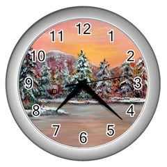 Jane s Winter Sunset   by Ave Hurley of ArtRevu ~ Wall Clock (Silver)