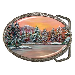 Jane s Winter Sunset   by Ave Hurley of ArtRevu ~ Belt Buckle