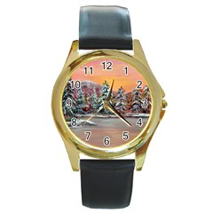 Jane s Winter Sunset   by Ave Hurley of ArtRevu ~ Round Gold Metal Watch