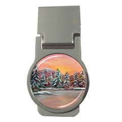 Jane s Winter Sunset   by Ave Hurley of ArtRevu ~ Money Clip (Round)