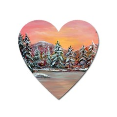 Jane s Winter Sunset   by Ave Hurley of ArtRevu ~ Magnet (Heart)