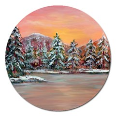 Jane s Winter Sunset   by Ave Hurley of ArtRevu ~ Magnet 5  (Round)