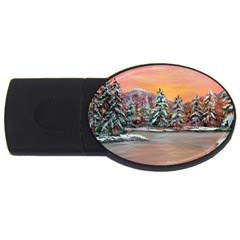 Jane s Winter Sunset   by Ave Hurley of ArtRevu ~ USB Flash Drive Oval (1 GB)