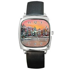 Jane s Winter Sunset   by Ave Hurley of ArtRevu ~ Square Metal Watch