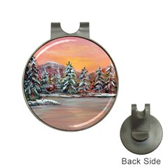 Jane s Winter Sunset   by Ave Hurley of ArtRevu ~ Golf Ball Marker Hat Clip