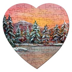Jane s Winter Sunset   by Ave Hurley of ArtRevu ~ Jigsaw Puzzle (Heart)