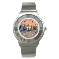 Jane s Winter Sunset   by Ave Hurley of ArtRevu ~ Stainless Steel Watch
