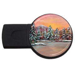 Jane s Winter Sunset   by Ave Hurley of ArtRevu ~ USB Flash Drive Round (4 GB)