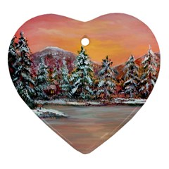 Jane s Winter Sunset   by Ave Hurley of ArtRevu ~ Heart Ornament (Two Sides)