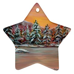 Jane s Winter Sunset   by Ave Hurley of ArtRevu ~ Star Ornament (Two Sides)