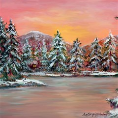 jane s Winter Sunset   By Ave Hurley Of Artrevu   Canvas 16  X 16
