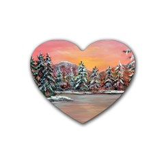 Jane s Winter Sunset   by Ave Hurley of ArtRevu ~ Rubber Heart Coaster (4 pack)