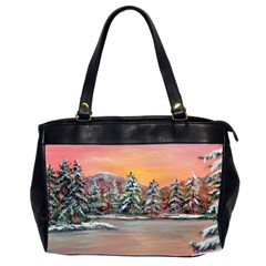 Jane s Winter Sunset   by Ave Hurley of ArtRevu ~ Oversize Office Handbag (2 Sides)
