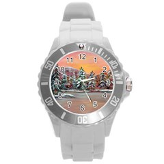 Jane s Winter Sunset   by Ave Hurley of ArtRevu ~ Round Plastic Sport Watch (L)
