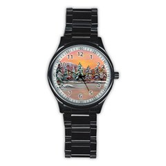 Jane s Winter Sunset   by Ave Hurley of ArtRevu ~ Stainless Steel Round Watch