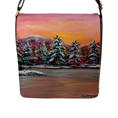 Jane s Winter Sunset   by Ave Hurley of ArtRevu ~ Flap Closure Messenger Bag (L)