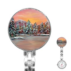 Jane s Winter Sunset   by Ave Hurley of ArtRevu ~ Stainless Steel Nurses Watch