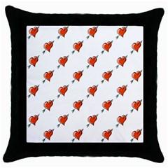 Hearts Black Throw Pillow Case