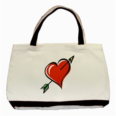 Heart Twin-sided Black Tote Bag