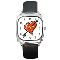 Heart Square Leather Watch