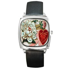 Victorian Valentine Card Square Leather Watch