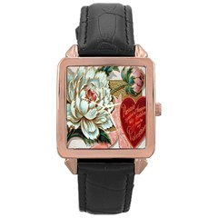 Victorian Valentine Card Rose Gold Leather Watch