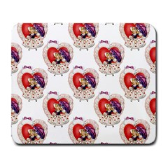 Vintage Valentine Girl Large Mouse Pad (Rectangle)
