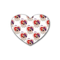 Vintage Valentine Girl Drink Coasters 4 Pack (Heart)