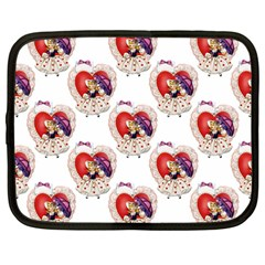 Vintage Valentine Girl Netbook Sleeve (Large)