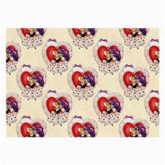 Vintage Valentine Girl Glasses Cloth (Large, Two Sided)