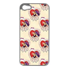Vintage Valentine Girl Apple iPhone 5 Case (Silver)