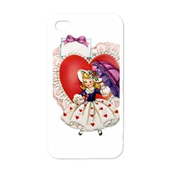 Vintage Valentine Girl Apple iPhone 4 Case (White)
