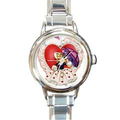 Vintage Valentine Girl Round Italian Charm Watch
