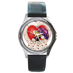 Vintage Valentine Girl Round Leather Watch (Silver Rim)