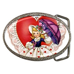 Vintage Valentine Girl Belt Buckle (Oval)
